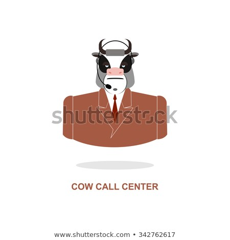 Tehén ügyfélszolgálat bika headset haszonállat jelmez Stock fotó © popaukropa
