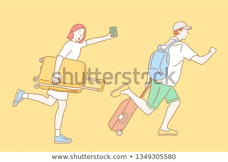 European man with travel bag and ticket in hands Stock photo © studioworkstock