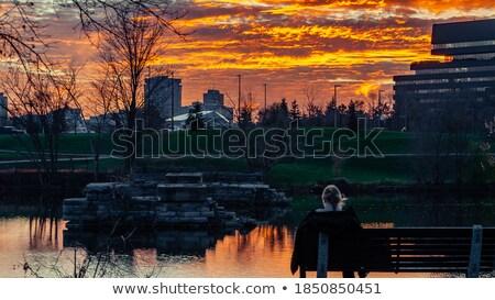 Ottawa şehir siluet gün batımı Bina seyahat Stok fotoğraf © Ray_of_Light