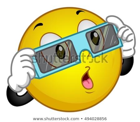 Eclips zon glas mascotte illustratie Stockfoto © lenm