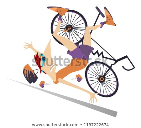 Man falling down from the bicycle isolated illustration stock photo © tiKkraf69