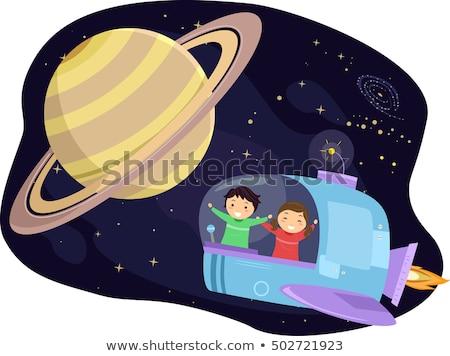 Gyerekek űrhajó illusztráció óvoda bolygó űr Stock fotó © lenm