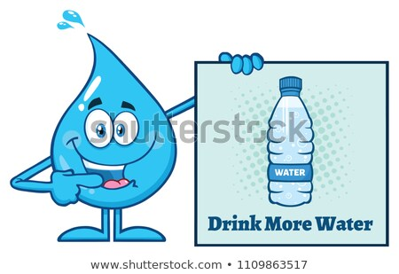 Blue Water Drop Cartoon Mascot Character Pointing A Drink More Water Sign Stock photo © hittoon