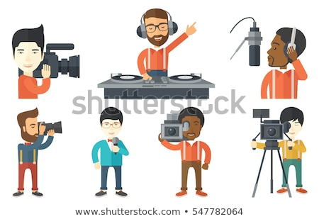 Hipster Cameraman Flat Cartoon Character stock photo © Voysla