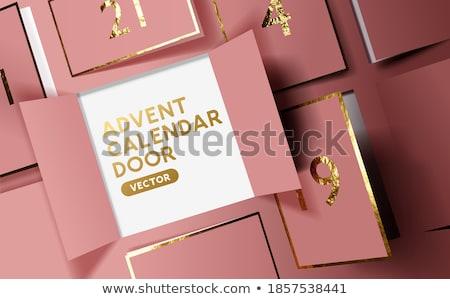 Karácsony advent naptár ajtók nyitás hópelyhek Stock fotó © solarseven