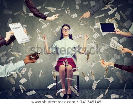 Nő meditál pénz eső boldog üzletasszony Stock fotó © ichiosea