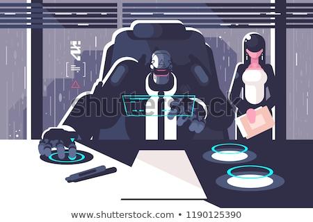Robot boss with woman secretary in office room Stock photo © jossdiim