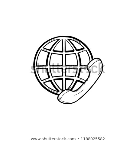 Stock photo: Globe and phone receiver hand drawn outline doodle icon.