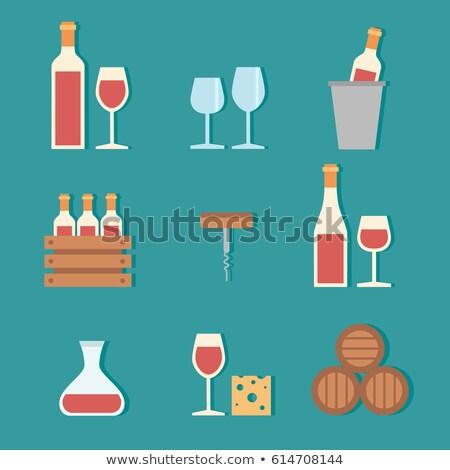 poster · bril · rode · wijn · druiven · kleurrijk · bos - stockfoto © robuart