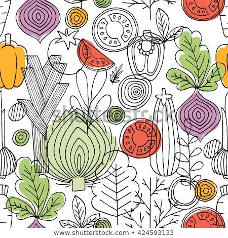 végtelen · minta · zöldség · zöld · végtelenített · geometrikus · minta · virág - stock fotó © popaukropa