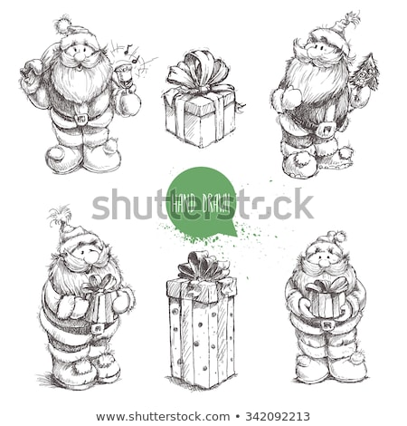 Vector holiday background with different textured gift boxes. Hand drawn elements. Merry Christmas Stock photo © user_10144511