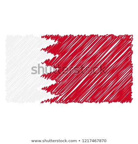 Dibujado a mano bandera Bahréin aislado blanco vector Foto stock © garumna