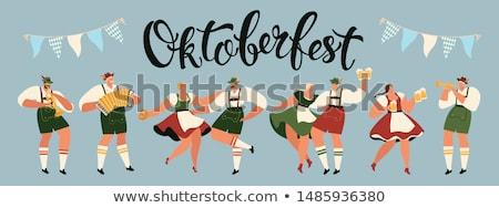 german cartoon oktoberfest man in traditional costume flat vecto stock photo © nikodzhi