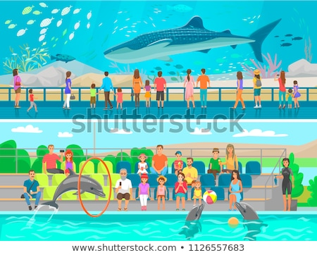 Huge oceanic aquarium and dolphinarium sketch Stock photo © robuart