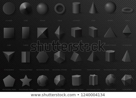 Nero cono cubo prisma isometrica 3D Foto d'archivio © robuart