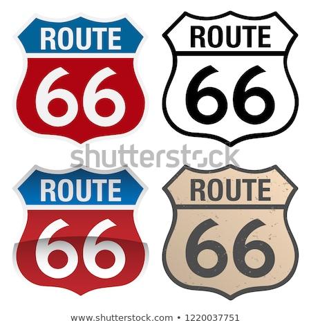 Route 66 vecteur signes illustration plein couleur Photo stock © jeff_hobrath