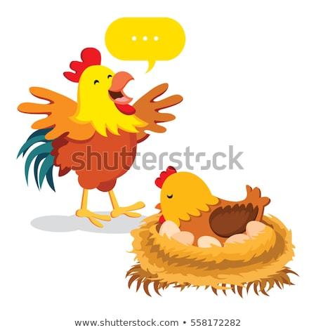 Poule poussins nid illustration art poulet Photo stock © colematt