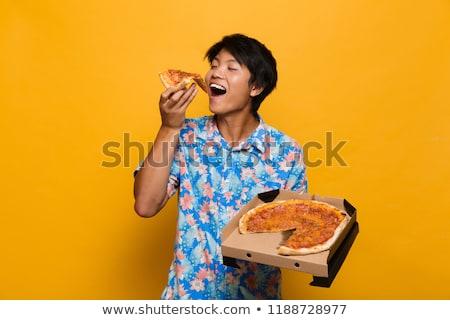 kéz · tart · pizza · szelet · finom · izolált - stock fotó © deandrobot
