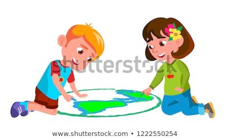 Gyermek fiú lány rajz Föld aszfalt Stock fotó © pikepicture