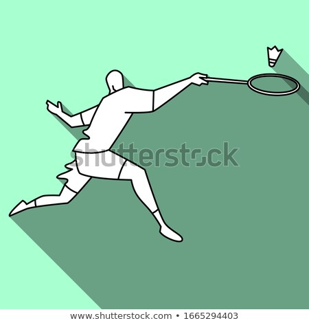 Cartoon noir badminton joueur courir illustration Photo stock © cthoman