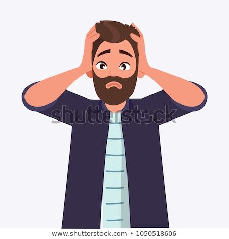 Desesperado homem mãos cabeça jovem Foto stock © nito