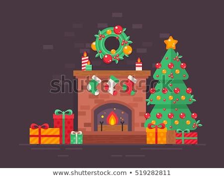 Сток-фото: украшенный · Рождества · камин · чулки · представляет · счастливым