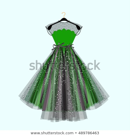 elegant women cocktail prom green dress vector stock photo © marysan