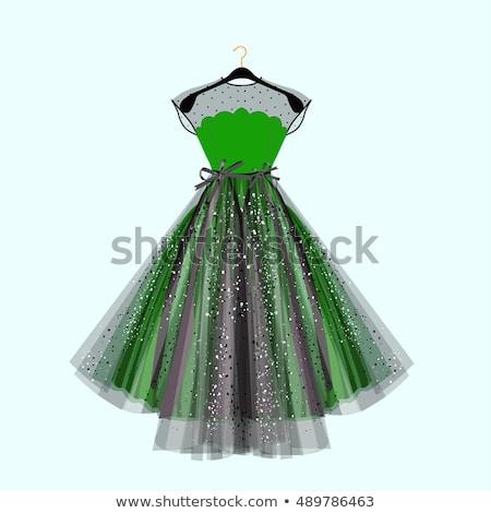 Elegante vrouwen cocktail prom groene jurk Stockfoto © MarySan