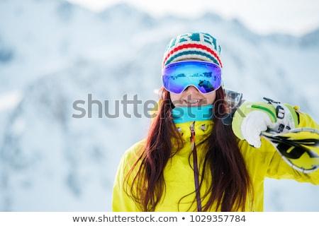 beautiful girl in sportswear with snowboard stock photo © jossdiim