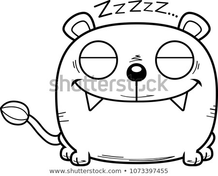 Cartoon Lioness Cub Napping Stock photo © cthoman