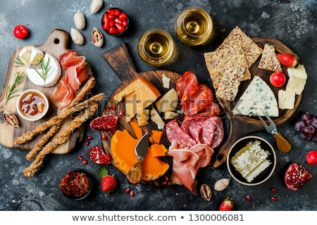italian antipasti wine snacks set brushettas on blue background stock photo © illia