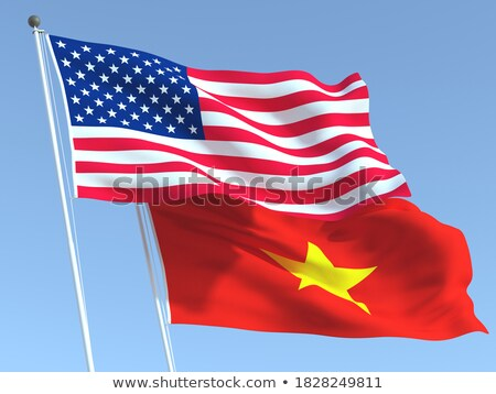 Iki bayraklar Amerika Birleşik Devletleri Vietnam yalıtılmış Stok fotoğraf © MikhailMishchenko