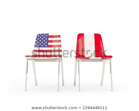 Dois cadeiras bandeiras Peru isolado branco Foto stock © MikhailMishchenko