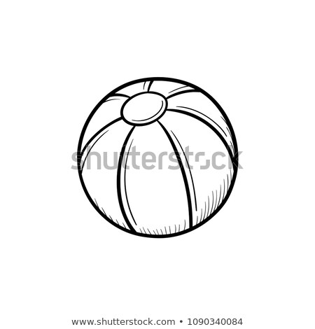 pallone · da · spiaggia · sketch · icona · web · mobile · infografica - foto d'archivio © rastudio