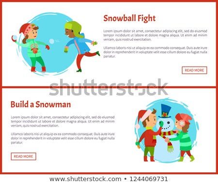 Build Snowman and Snowball Fights Postcards Vector Stock photo © robuart