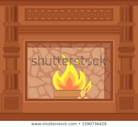 Fireplace with Carved Wooden Decoration of Sides Stock photo © robuart