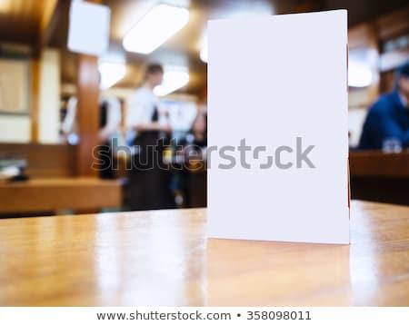 étterem menü fa asztal felső kilátás étel Stock fotó © magraphics