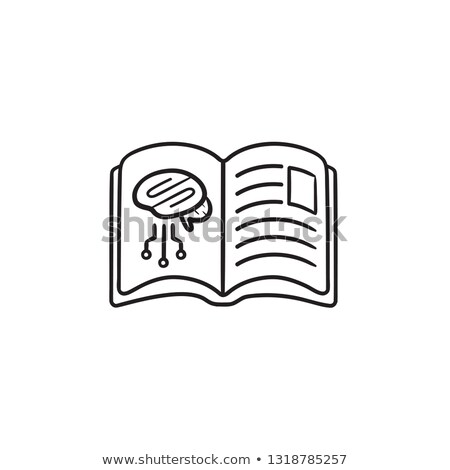 Book with brain neural networks hand drawn outline doodle icon. Stock photo © RAStudio