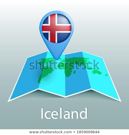 İzlanda harita dünya haritası bayrak pin Stok fotoğraf © kyryloff