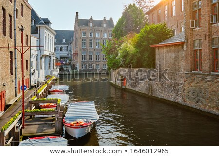 houses and tree along the canals of brugge or bruges stock photo © artjazz