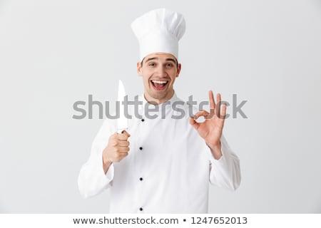 Mutlu şef pişirmek üniforma Stok fotoğraf © deandrobot