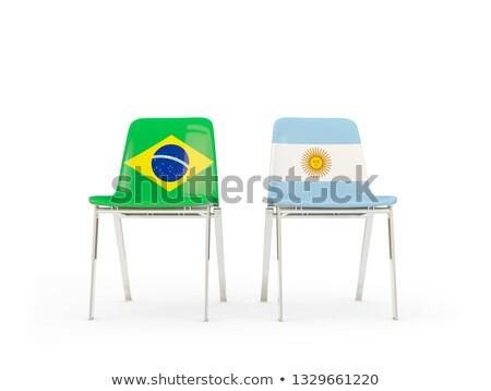 Kettő székek zászlók Argentína Brazília izolált Stock fotó © MikhailMishchenko