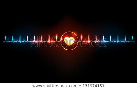 ハートビート · モニター · 医療 · 心電図 · 青 · 中心 - ストックフォト © sarts