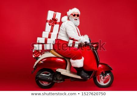 Motorkerékpár bicikli ajándék doboz pop art retro giccs Stock fotó © studiostoks