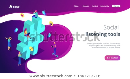 Hashtag tracking isometric 3D landing page. Stock photo © RAStudio