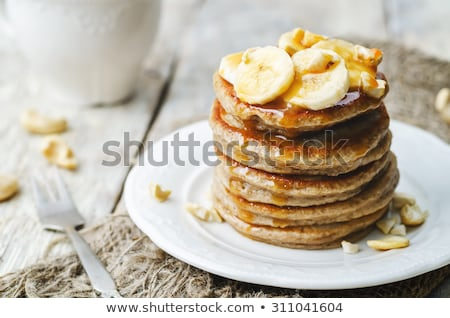 Pancakes with banana Stock fotó © YuliyaGontar