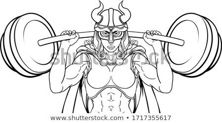 Viking harcos nő súlyemelő emel súlyzó Stock fotó © Krisdog