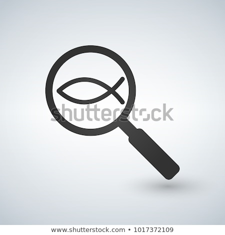 vector christian fish in magnifying glass on sample background stock photo © kyryloff