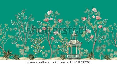 Palma chińczyk ogród budynku dłoni zielone Zdjęcia stock © Bananna