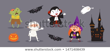 rajz · halloween · vámpír · mutat · felirat · jókedv - stock fotó © krisdog